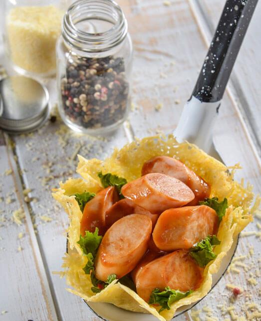 Canastas de parmesano con Salchicha de Pavo
