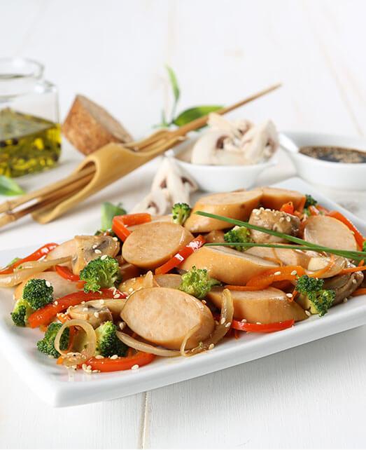 Salchichas de Pavo Pietrán con vegetales