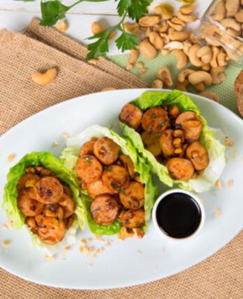 Tacos de lechuga con Salchicha de Pollo