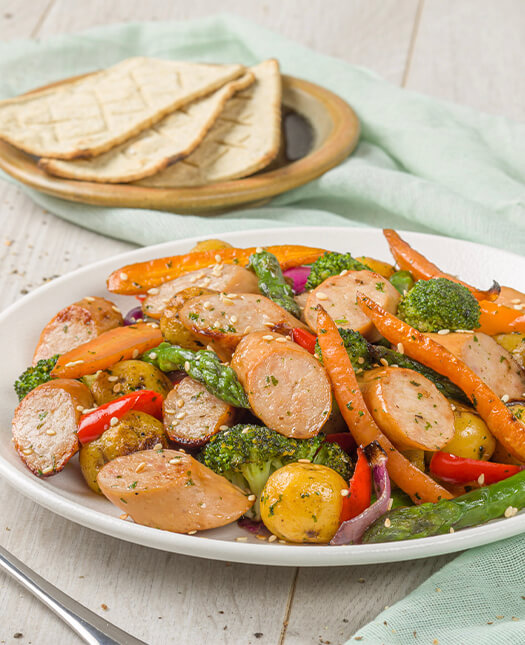 Receta de Salchichas de pavo pietrán con vegetales
