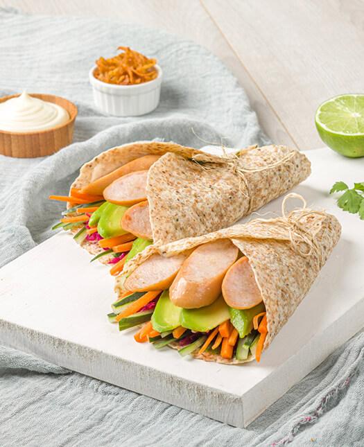 Wraps de tortilla con vegetales y salchicha de pavo Pietrán