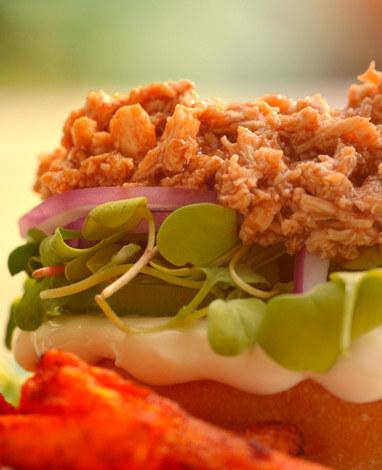 Receta de Sándwich vegetariano con veggie desmechado